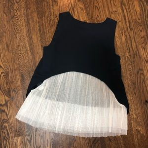 Elizabeth & James Navy Blue Top with White Tulle